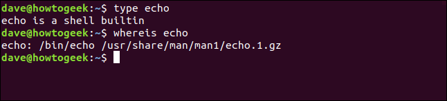type echo in a terminal window