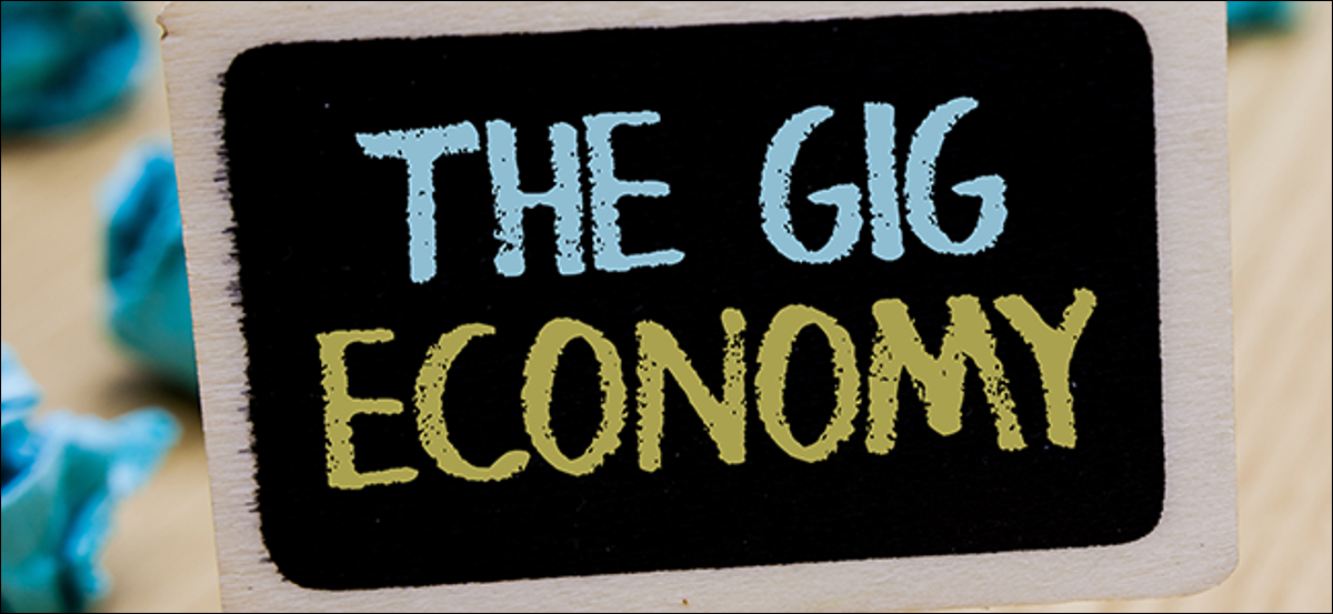"""A poster showing the phrase """"The Gig Economy"""""""