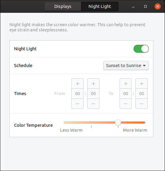 Night Light tab in the settings dialog