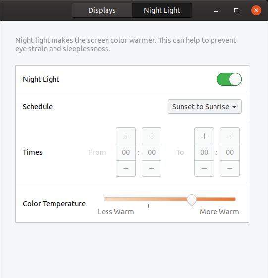 Night Light tab in the settings dialog
