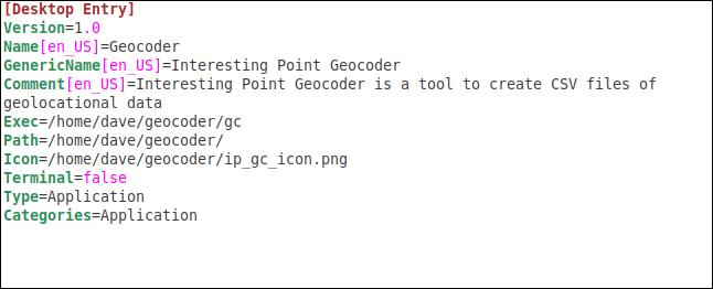 Teh completed .desktop file in the gedit editor