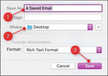 "Apple Mail's ""Save As"" dialog with the file name, location, and Save button highlighted."