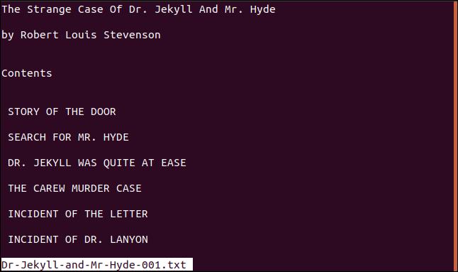 file displayed in less