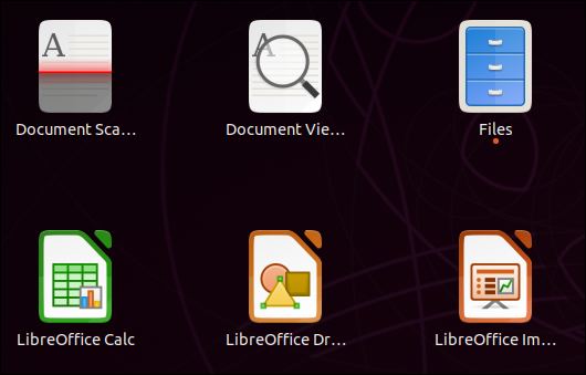 Separate icons for LibreOffice applications inthe application overview