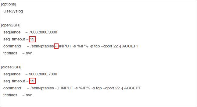El archivo de configuración knockd en el editor gedit con las ediciones resaltadas.