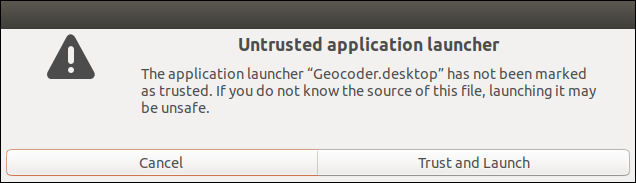 Untrusted Launcher warning dialog