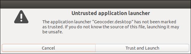 Untrusted Launcher warning dialog