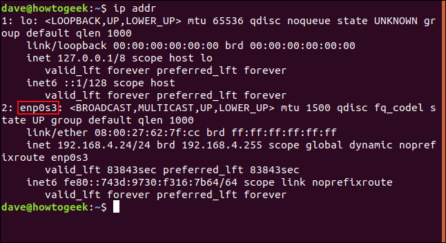 """The """"ip addr"""" command in a terminal window."""