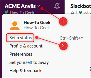 "Click the arrow to open the main menu, and then click ""Set a Status."""