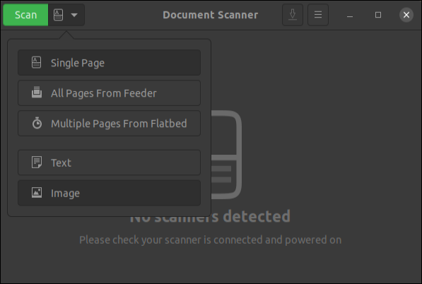 Document Scanner application with menu displayed