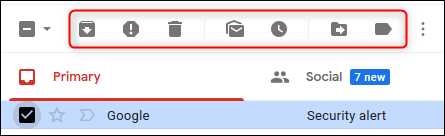 The default action icons in Gmail.