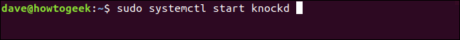 """sudo systemctrl start knockd"" command in a terminal window."