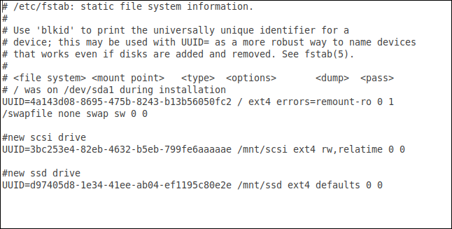 fstab file after editing and adding the SCSI and SSD drives