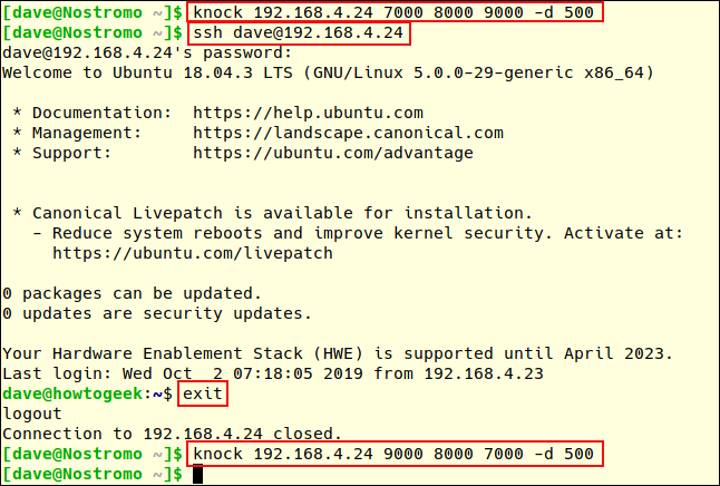 Port knocking and ssh connection session in a terminal window.
