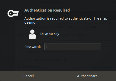 Ubuntu Authentication Dialog window