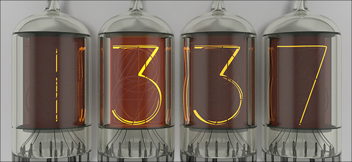 1337 or leet spelled out with Nixie tubes.