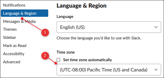 "Click ""Language & Region,"" and then click the dropdown menu and select the time zone."