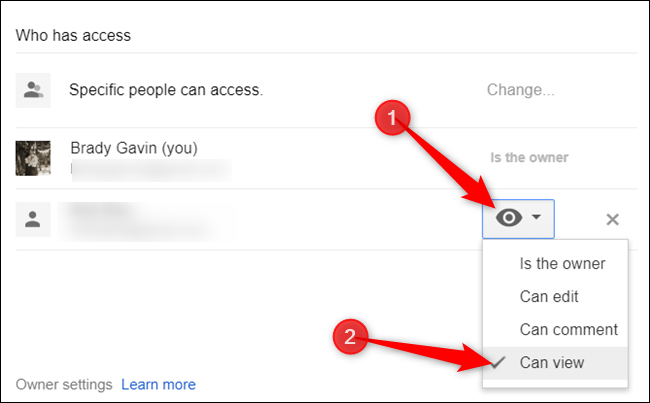 """Next to each person who can access the file, click the dropdown menu and choose """"Can view"""" from the list of permissions."""