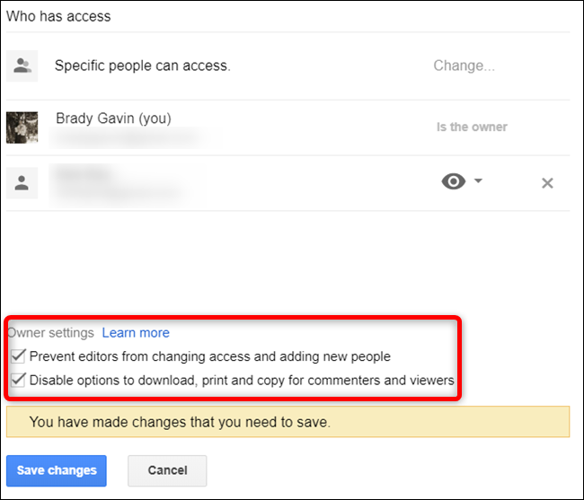 Further restrict your file with these two extra measures, located at the bottom of the Share settings window.