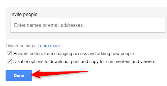 "Click ""Done"" to close Share settings and return to Google Drive."