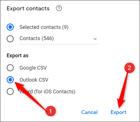 """Choose """"Outlook CSV,"""" and then click """"Export."""""""