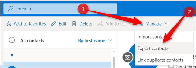 "Click ""Manage,"" and then click ""Export Contacts."""