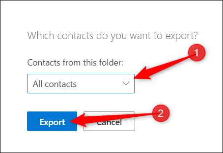 """Choose """"All Contacts"""" or another folder with contact information in it, and then click """"Export."""""""