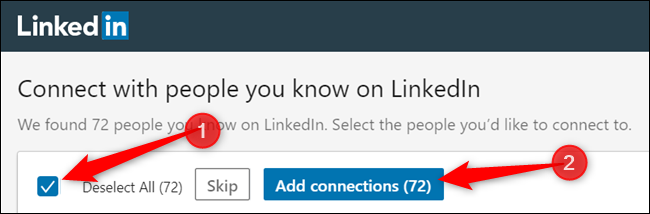 """Select from the list of connections---or tick the checkbox to select all connections---and then click """"Add Connections"""" to continue."""