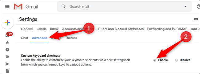 """Click """"Advanced,"""" and then click the button next to """"Custom Keyboard Shortcuts"""" to enable them."""