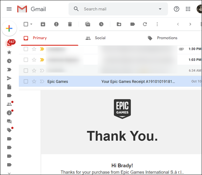 With horizontal split, email contents will appear on the bottom, while the list of emails is on the top.