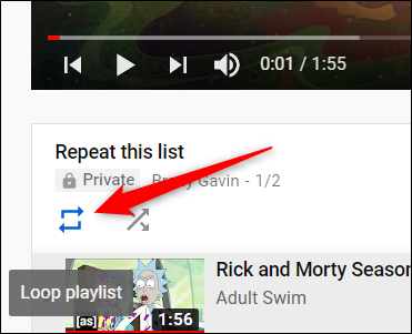 When the first video loads, click on the Loop icon, located underneath the video.