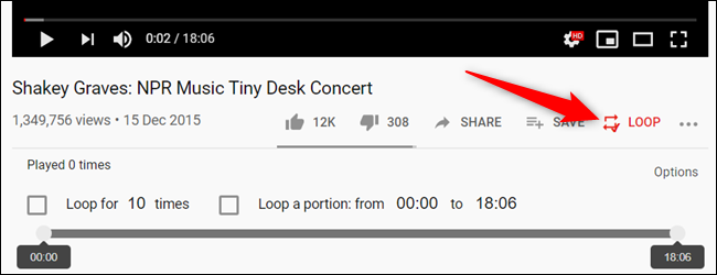 "When you fire up a video, click on the ""Loop"" icon, located underneth the video player."