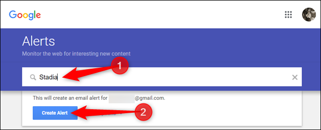 """Enter a topic to search for, and then click """"Create Alert."""""""