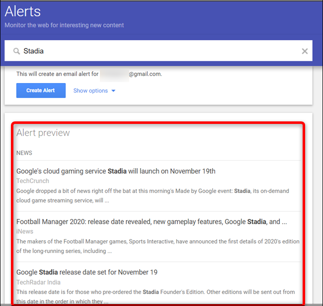 A preview of the Alert that will be sent to your inbox is viewable by scrolling down.