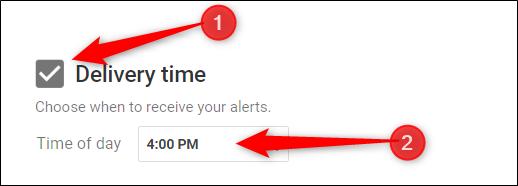 """Cambie la hora de entrega haciendo clic en la casilla de verificación junto a """"Entrega"""" y luego especificando una hora."""