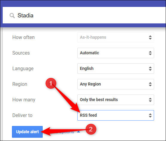 """Change the dropdown for """"Deliver to"""" to """"RSS feed"""" and click """"Update alert."""""""