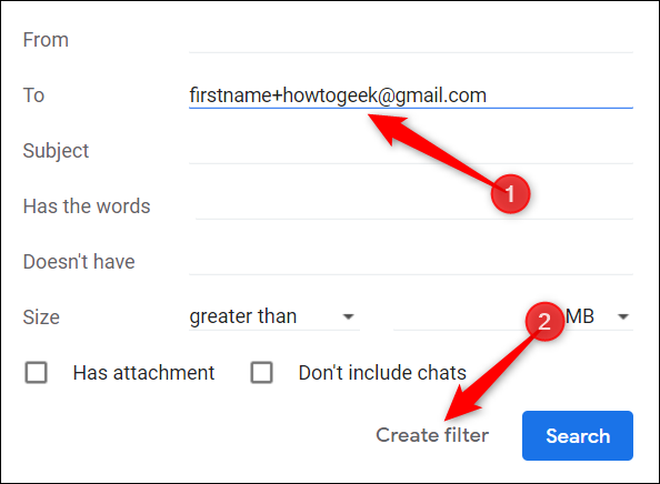 """Type your email address in the """"To"""" section, and then click """"Create Filter."""""""