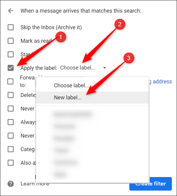 """Click the checkbox next to """"Apply the Label,"""" click """"Choose Label,"""" and then select """"New Label."""""""