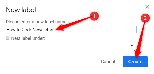 "Type a name for your label, and then click ""Create."""