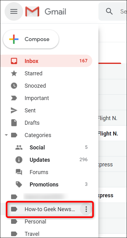 The side panel in Gmail.