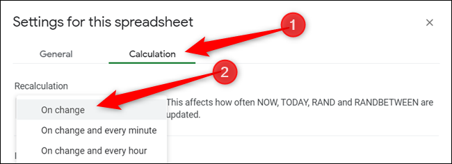 "Change the recalculation interval from File > Spreadsheet settings, click on ""Calculation,"" and then choose the interval from the dropdown menu under ""Recalculate."""