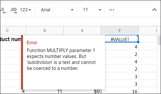 If you have headers at the top of a table, you will see this error. This just means that the formula only accepts integers as values, not words.