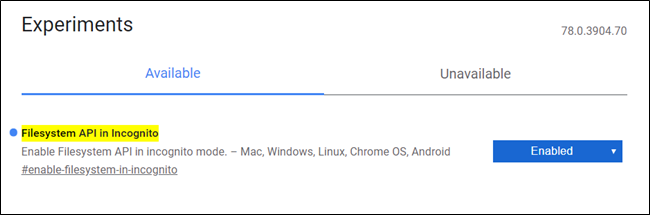API del sistema de archivos en la imagen de la bandera de incógnito