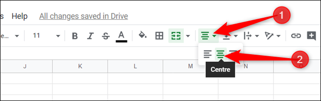 """To center the text in the cell, click the Align icon in the toolbar, and then click """"Center."""""""