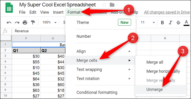 To unmerge the cell, click the merged cell, and then click Format > Merge cells > Unmerge.