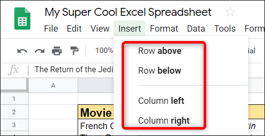 Next, from the options available, choose rows above or below or columns to the left or right.