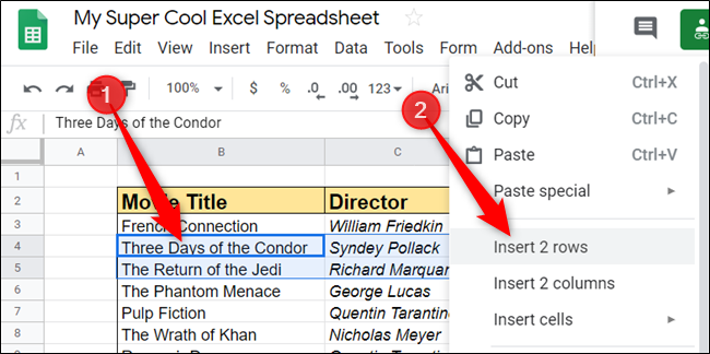 The same action can be completed using the right-click context menu. Select some cells, and then right-click to view the options for rows or columns.