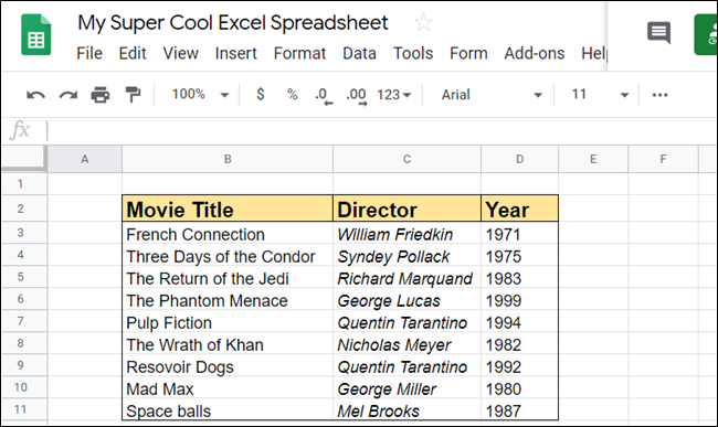 Open a spreadsheet that you want to insert some rows or columns into.