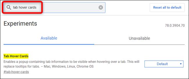 """Escribe """"Tab Hover Cards"""" en la barra de búsqueda para ir directamente a esta bandera."""