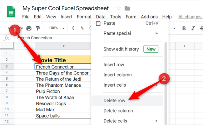 """Highlight a cell in the row or column that you want to remove, right-click it, and then click on either """"Delete row"""" or """"Delete column."""""""